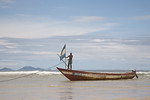FREETOWN PENINSULA, SIERRA LEONE - AUGUST,2006: Fishing boat on the beach at River No.2. Once a world famous tourist destination for its beautiful beaches today the locals are slowly trying  ...
