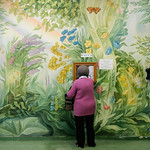 Colorful Soviet mural on the wall of Sanitorium