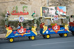 Damascus, Syria - January 2008: Syrian children riding around Damascus in a street train decorated with pictures of their President Bashar al-Assad.  (Photo by Christopher Herwig)
